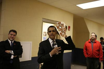 President Obama holds an example of what a taco should be